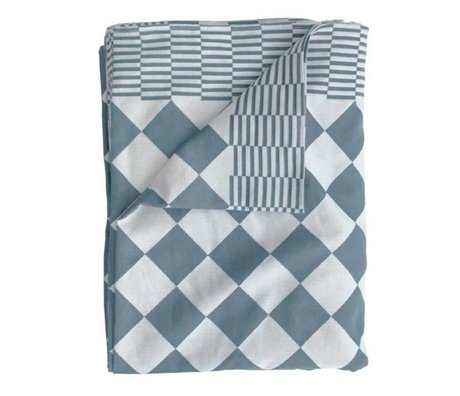 HK-living Tablecloth cubes blue cotton 140x200cm