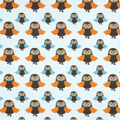 Ferm Living Wallpaper owl blue paper 10.05mtrx53cm owl batch number 1411
