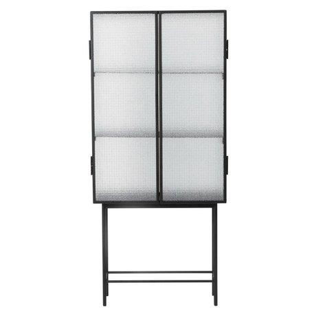 Ferm Living Haze cabinet showcase black metal glass 70x155x32cm