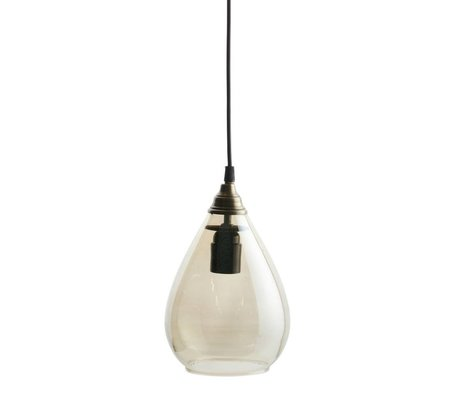 BePureHome Hanglamp Simple brass goud glas L 28xØ14cm