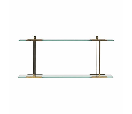 Housedoctor Pure glass shelf brass 13x60x24cm