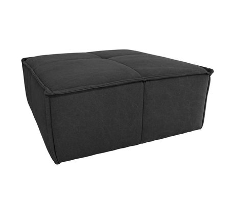 HK-living Ottoman charcoal black canvas cotton 80x69x43cm
