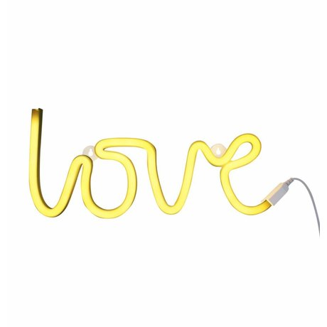 A Little Lovely Company Lamp love neon yellow 38x16cm