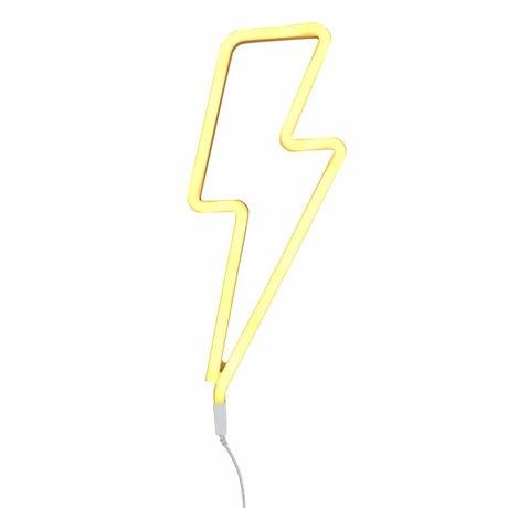 A Little Lovely Company Lamp neon yellow lightning 41x17cm