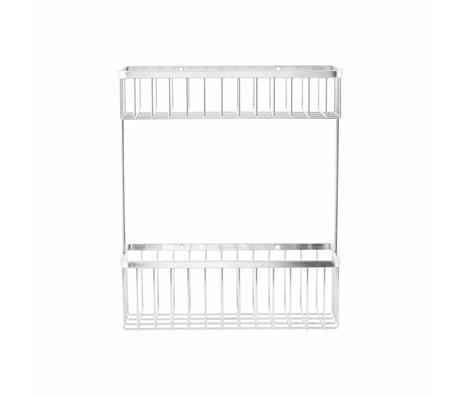 Housedoctor Bath basket Double gray metallic 28x11,5x33,3cm