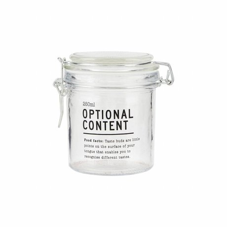 Housedoctor Jar Optional Content glas 8,3x8,3x10 cm 250ml