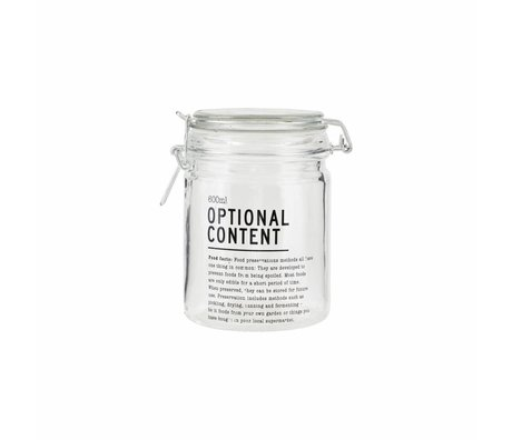 Housedoctor Optional glass jar Content 10x10x14,5cm 600ml