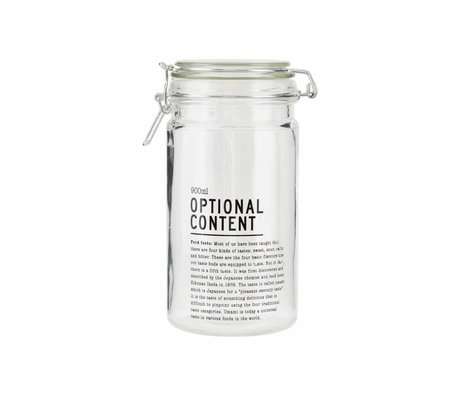 Housedoctor Jar Optional Content 900ml glass 10x10x20cm