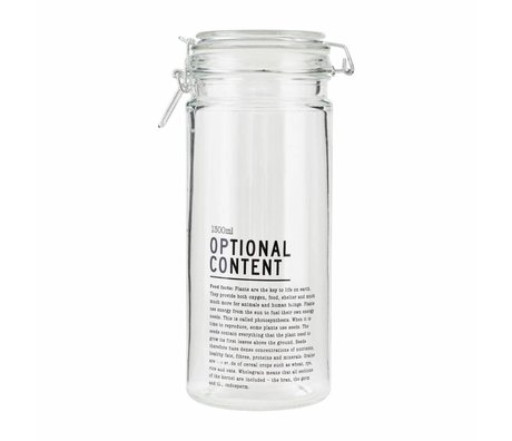 Housedoctor Jar Optional Content glas 10x10x25cm 1300ml