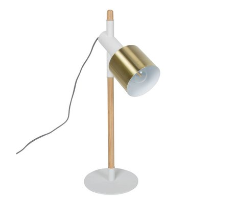 Zuiver Table Lamp Ivy white brass gold metal wood 20x60cm