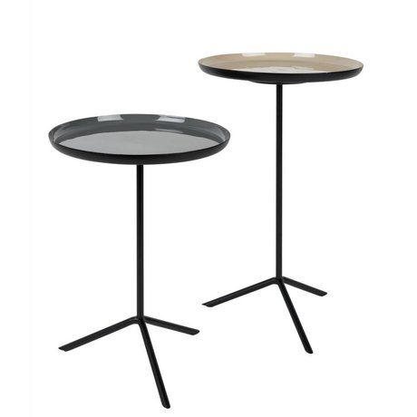 Zuiver Occasional table About gray light black metal set of two 31x40cm 31x50,5cm