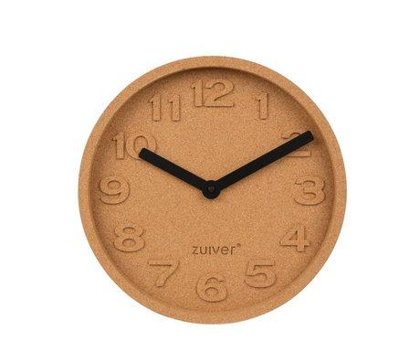 Zuiver Klok Cork time oranje bruin aluminium Ø31x5,5cm