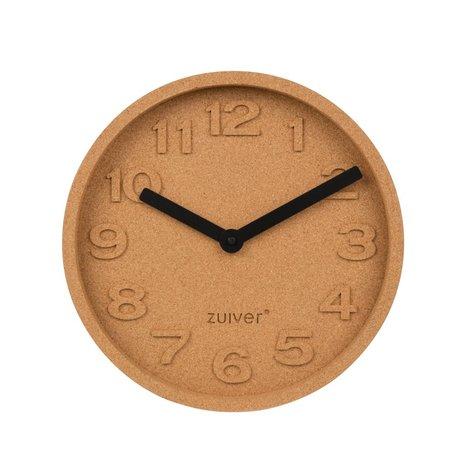 Zuiver Cork horloge temps orange Ø31x5,5cm d'aluminium brun