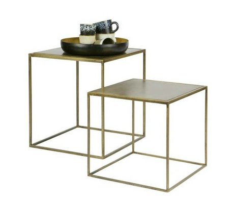 BePureHome Bijzettafel Metallic brass goud metaal set van 2 45x40x40cm/35x36x36cm