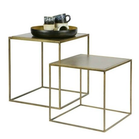 BePureHome Beistelltisch Metallic Messing Gold-Metall-Satz von 2 45x40x40cm / 35x36x36cm