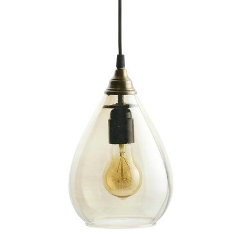 BePureHome Hanglamp Simple brass goud glas M 25xØ11cm