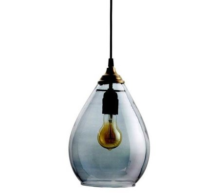BePureHome Hanglamp Simple grijs glas L 28xØ14cm