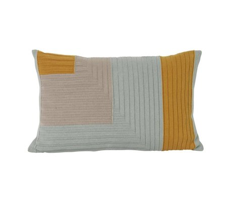 Ferm Living Cushion Angle knit curry yellow light blue cotton 60x40cm