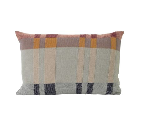 Ferm Living Cushion Medley Knit Mint double-sided yellow multicolour cotton L 60x40cm