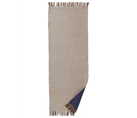 Ferm Living Vloerkleed Nomad beige donker blauw gerecycled polyester L 70x180cm