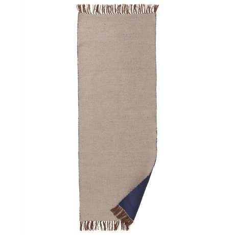 Ferm Living Rug Nomad beige dark blue recycled polyester L 70x180cm