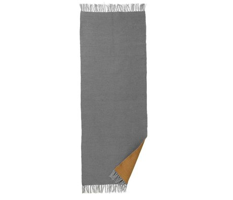 Ferm Living Vloerkleed Nomad curry geel grijs gerecycled polyester L 70x180cm