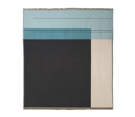 Ferm Living Bedspread Colour block dusty blue cotton 240x250cm