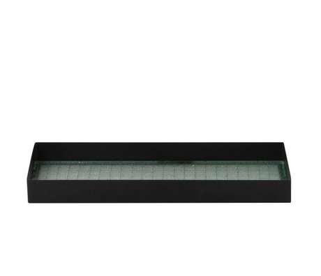 Ferm Living Tray Haze Black Metal Glas S 33x12x3,2cm