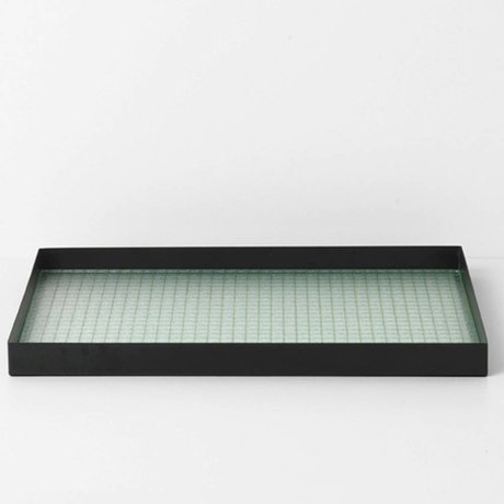 Ferm Living Tray Haze black metal glass L 45x33x3,2cm