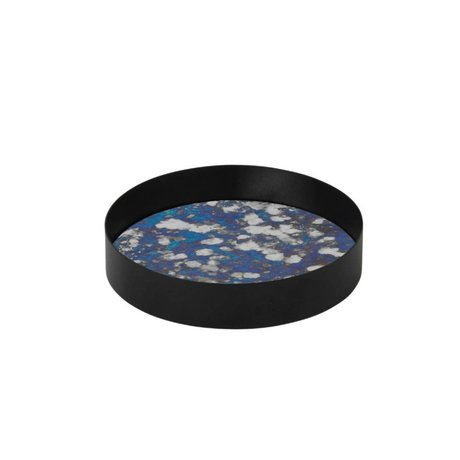 Ferm Living Coupled metal tray blue tinted glass S Ø16x3,2cm