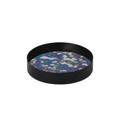 Ferm Living plateau métallique Couplé bleu verre teinté S Ø16x3,2cm
