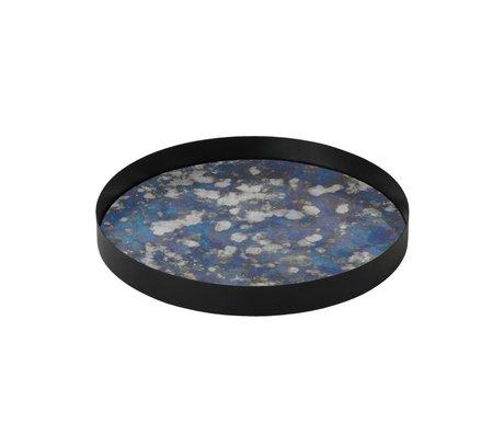 Ferm Living plateau Couplé bleu métallique verre coloré L Ø30x3,2cm