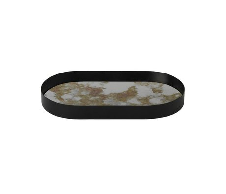 Ferm Living Coupled oval metal tray moss colored glass S 30x16x3,2cm