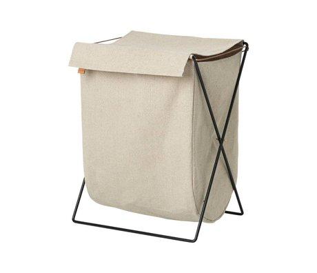 Ferm Living Herman panier à linge beige toile noire 65x50x40cm métallique