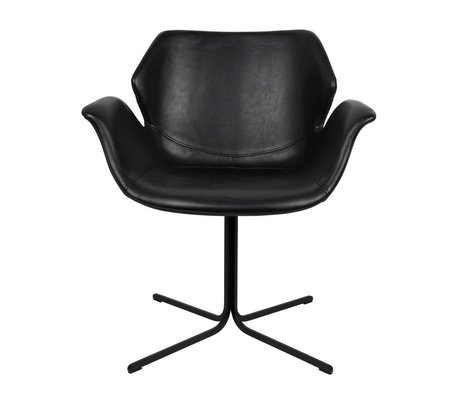 Zuiver Nikki office chair black leather metal 66x62x80cm