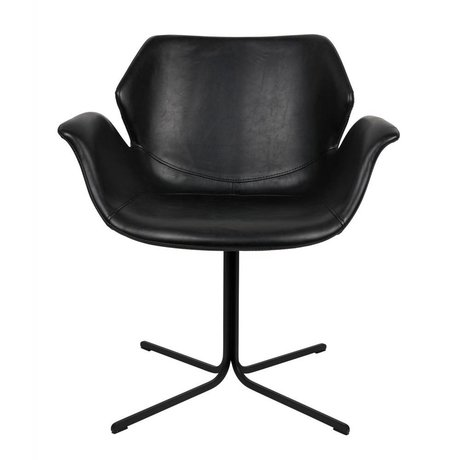Zuiver Nikki Bürostuhl aus schwarzem Leder Metall 66x62x80cm
