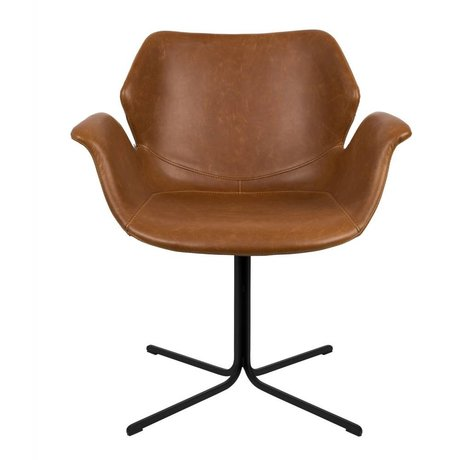 Zuiver Nikki braunem Leder Schreibtischstuhl Metall 66x62x80cm