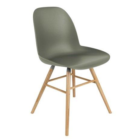Zuiver Salle à manger Chaise Albert Kuip plastique vert bois 49x55x81,5cm