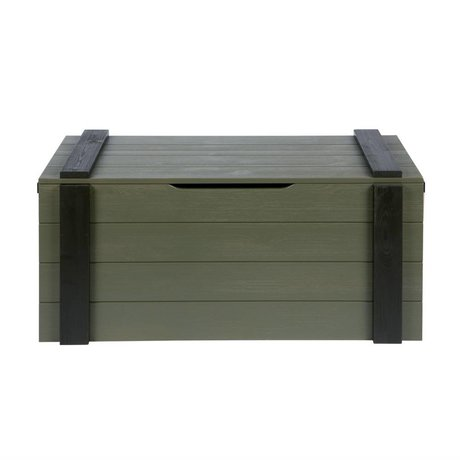 LEF collections Opbergkist Derk forrest-charcoal groen hout 44x96x44cm