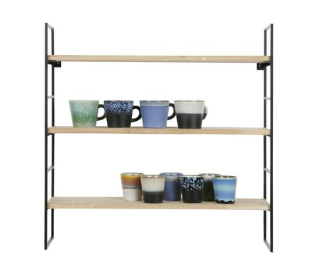 LEF collections Meert wall rack black-brown wood metal 69x69x19cm