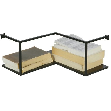 LEF collections Wall shelf corner Meert black metal 36x36x16cm