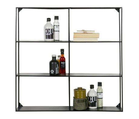 LEF collections Wall rack compartments Meert black metal 90x90x15cm