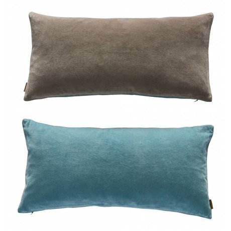 OYOY Cushion Lia sided blue gray velveteen 32x60cm