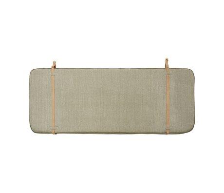 OYOY Chevet bleu beige coton marron 184x74x5cm en cuir