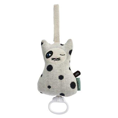 OYOY Mobile Music Cat schwarz und weiß Baumwolle 17x12cm