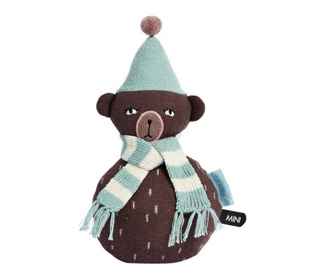 OYOY Roly-poly brown teddy blue cotton 12x22cm