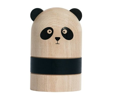 OYOY Moneybox Panda light black wood Ø9,5 x 15 cm