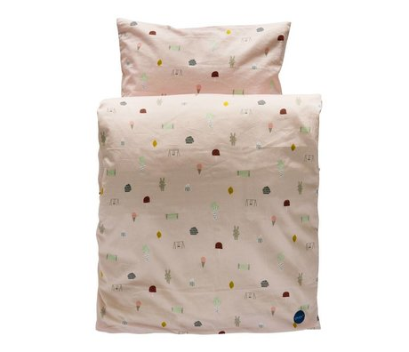 OYOY Duvet Happy summer baby light pink organic cotton 70x100cm / 40x45cm