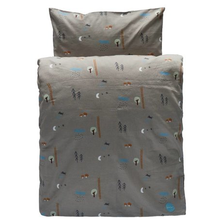 OYOY Duvet Happy forrest 1 single gray / brown organic cotton 140x200cm / 60x63cm