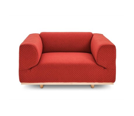 FEST Amsterdam Juno recliner loveseat red Febrik Stitch Earth textile 150x90x70cm